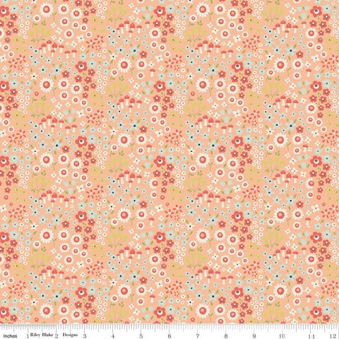 Woodland Spring Wild Flowers Peach - Riley Blake Designs - Flowers Mushrooms Orange -  Quilting Cotton Fabric