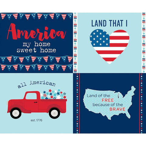 Fireworks and Freedom Placemat Panel Navy - Riley Blake Designs - Blue Patriotic Independence Day  - Quilting Cotton Fabric
