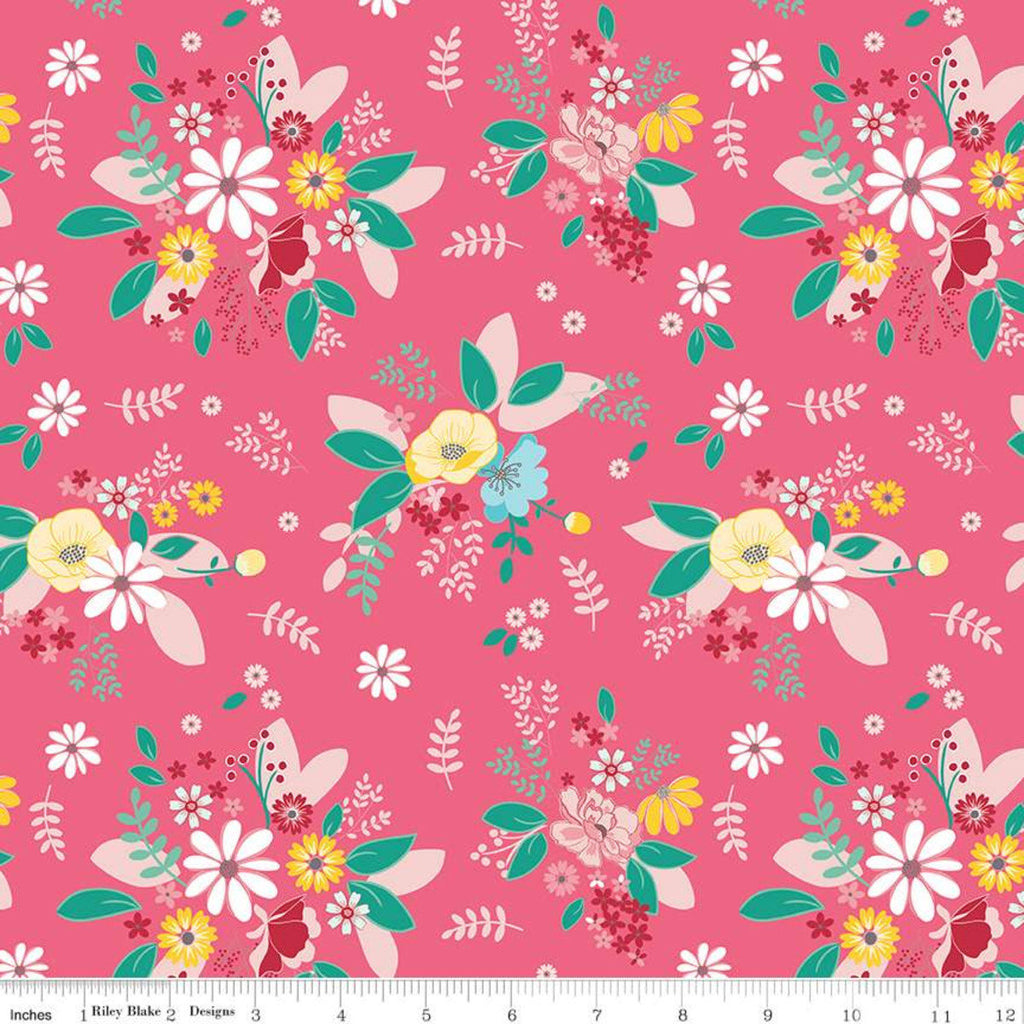Singing in the Rain Main Raspberry - Riley Blake Designs - Flowers Floral Pink - Quilting Cotton Fabric - choose your cut
