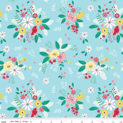Singing in the Rain Main Waterfall - Riley Blake Designs - Flowers Floral Blue - Quilting Cotton Fabric