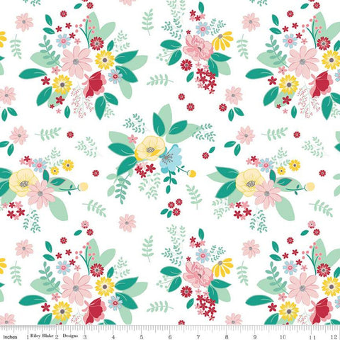 SALE Singing in the Rain Main White - Riley Blake Designs - Flowers Floral - Quilting Cotton Fabric