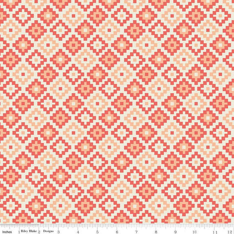 SALE Woodland Spring God's Eye Coral - Riley Blake Designs - Orange Geometric -  Quilting Cotton Fabric
