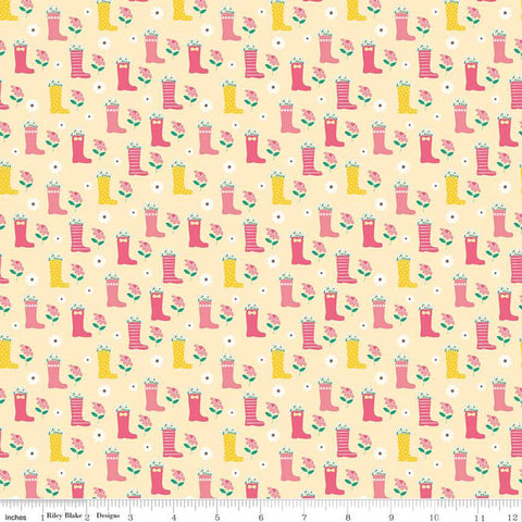 SALE Singing in the Rain Boots Yellow - Riley Blake Designs - Rainboots Flowers Floral - Quilting Cotton Fabric