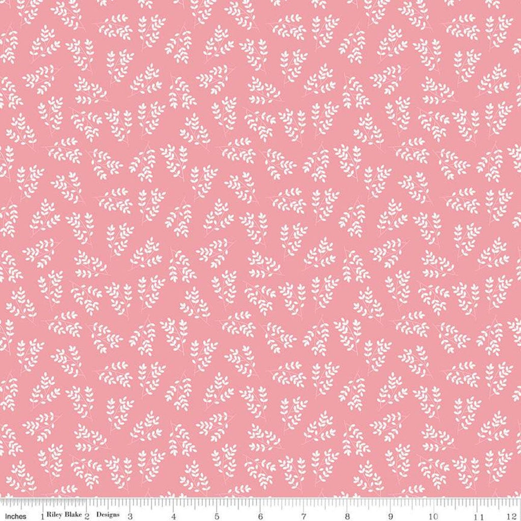 SALE Singing in the Rain Stems Pink - Riley Blake Designs - Floral White Leaves on Pink - Quilting Cotton Fabric
