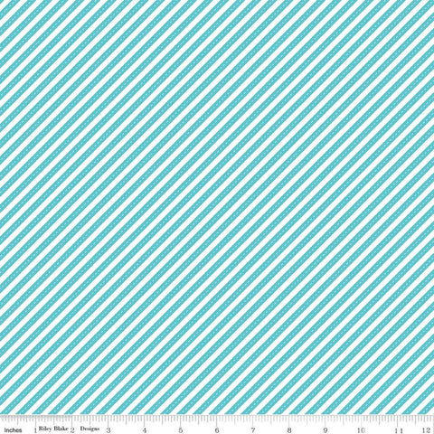 SALE Singing in the Rain Ribbons Peacock - Riley Blake Designs - Blue White Diagonal Stripes Striped Stripe - Quilting Cotton Fabric