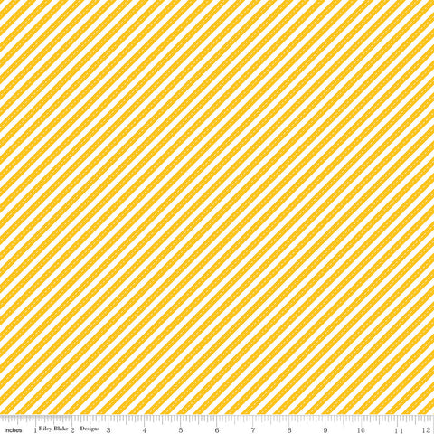 Singing in the Rain Ribbons Yellow - Riley Blake Designs - Yellow White Diagonal Striped - Quilting Cotton Fabric - choose your cut