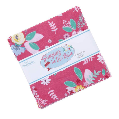 "Singing in the Rain Charm Pack 5"" Stacker Bundle - Riley Blake Designs - 42 piece Precut Pre cut - Floral - Quilting Cotton Fabric"