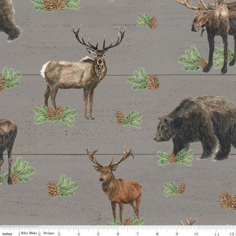 Send Me to the Woods Main Gray - Riley Blake Designs - Wildlife Outdoors Animals Bear Deer Moose Pinecones  - Quilting Cotton Fabric