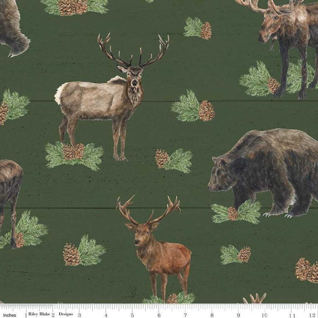 Send Me to the Woods Main Green - Riley Blake Designs - Wildlife Outdoors Animals Bear Deer Moose Pinecones  - Quilting Cotton Fabric