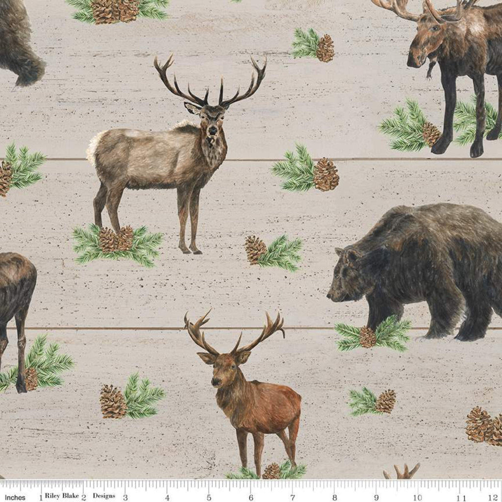Send Me to the Woods Main Tan - Riley Blake - Wildlife Outdoors Animals Bear Deer Moose Pinecones  - Cotton Fabric - end of bolt pieces