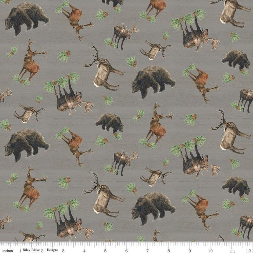 Send Me to the Woods Toss Gray - Riley Blake Designs - Wildlife Outdoors Animals Bear Deer Moose Pinecones  - Quilting Cotton Fabric