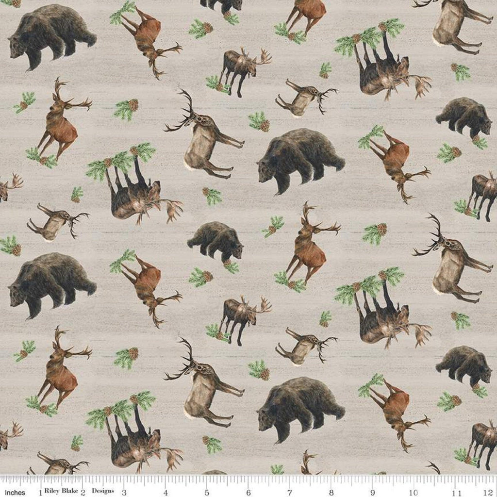 Send Me to the Woods Toss Tan - Riley Blake Designs - Wildlife Outdoors Animals Bear Deer Moose - Quilting Cotton Fabric - choose your cut