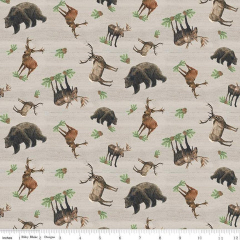 Send Me to the Woods Toss Tan - Riley Blake - Wildlife Outdoors Animals Bear Deer Moose - Quilting Cotton Fabric - fat quarter