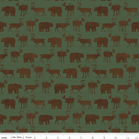 Send Me to the Woods Silhoutte Green - Riley Blake Designs - Outdoors Wildlife Animals Bear Deer Moose   - Quilting Cotton Fabric