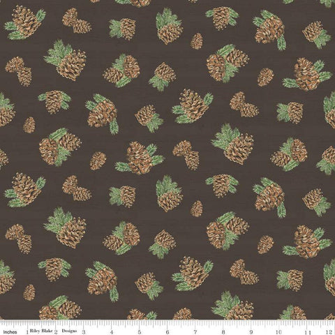 Send Me to the Woods Pinecones Brown - Riley Blake Designs - Outdoors Trees Pines Cones Pine   - Quilting Cotton Fabric - End of bolt pieces