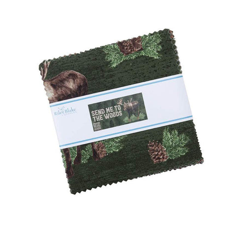 "Send Me to the Woods Charm Pack 5"" Stacker Bundle - Riley Blake Designs - 42 piece Precut Pre cut - Outdoors - Quilting Cotton Fabric"