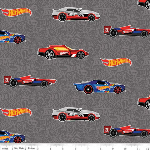 SALE Hot Wheels Main Gray - Riley Blake Designs - Die-Cast Toy Cars Gray Tone-on-Tone Background - Quilting Cotton Fabric