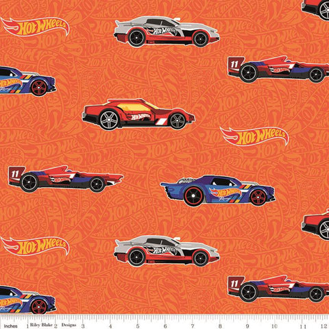SALE Hot Wheels Main Orange - Riley Blake Designs - Die-Cast Toy Cars Orange Tone-on-Tone Background - Quilting Cotton Fabric