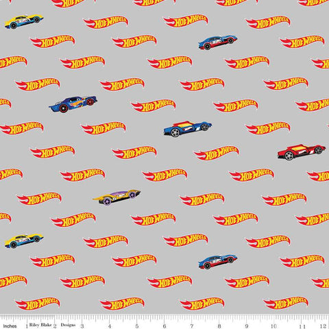 SALE Hot Wheels Logo Gray - Riley Blake Designs - Die-Cast Toy Race Cars - Quilting Cotton Fabric