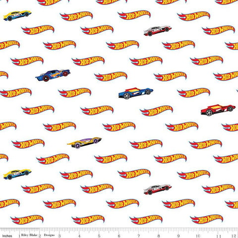 SALE Hot Wheels Logo White - Riley Blake Designs - Die-Cast Toy Race Cars - Quilting Cotton Fabric