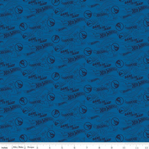 SALE Hot Wheels Dare to be Rad Navy - Riley Blake Designs - Die-Cast Toy Race Cars Logo Blue - Quilting Cotton Fabric