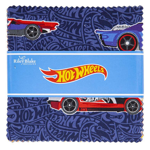 "Hot Wheels Charm Pack 5"" Stacker Bundle - Riley Blake Designs - 42 piece Precut Pre cut - Racing Cars Toys - Quilting Cotton Fabric"