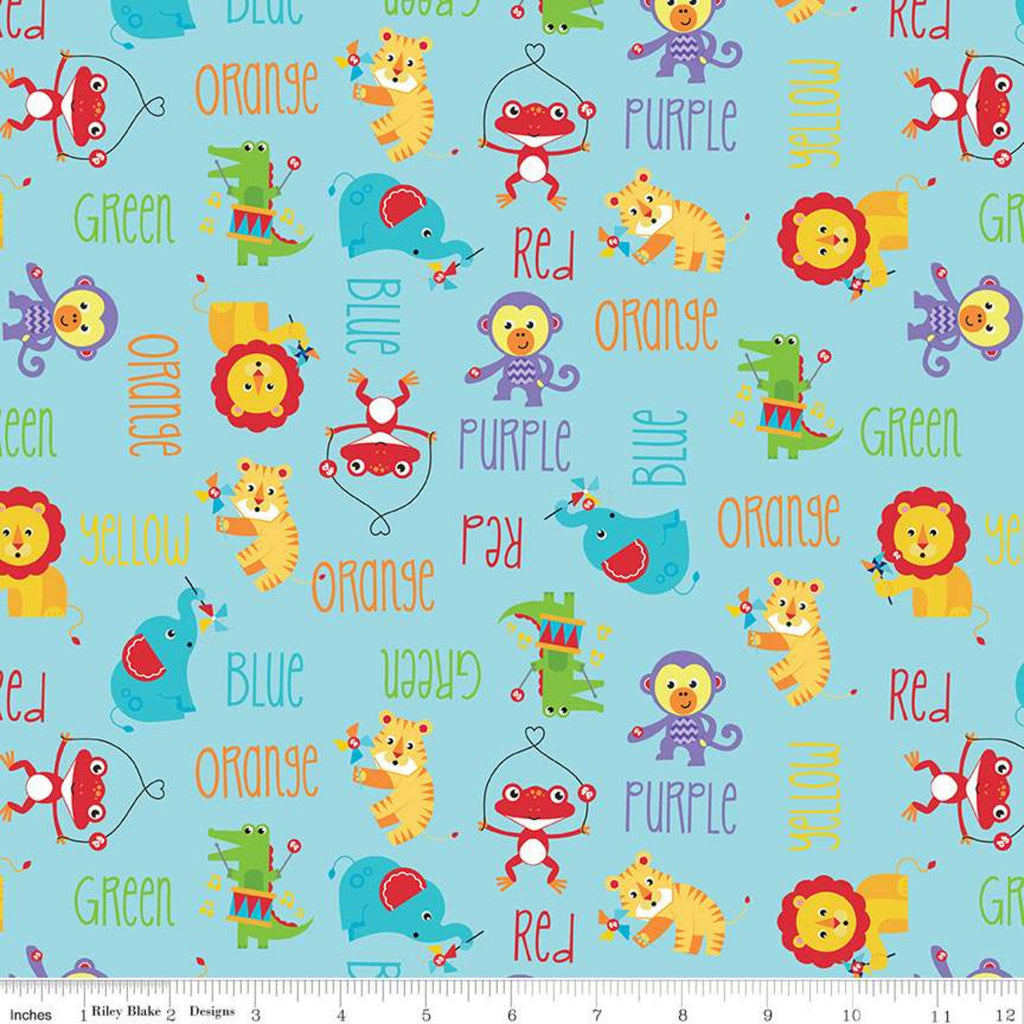 SALE Fisher-Price Main Aqua - Riley Blake Designs - Toys Animals Color Names Text Blue - Quilting Cotton Fabric