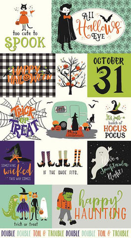 SALE Hocus Pocus Panel Multi by Riley Blake Designs - Halloween Saying Images - Quilting Cotton Fabric