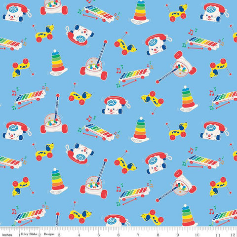 SALE Fisher-Price Toys Blue - Riley Blake Designs - Nostalgia Childhood Xylophone Chatter Phone Corn Popper  - Quilting Cotton Fabric