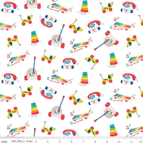 Fisher-Price Toys White - Riley Blake Designs - Nostalgia Childhood Xylophone Chatter Phone Corn Popper  - Quilting Cotton Fabric