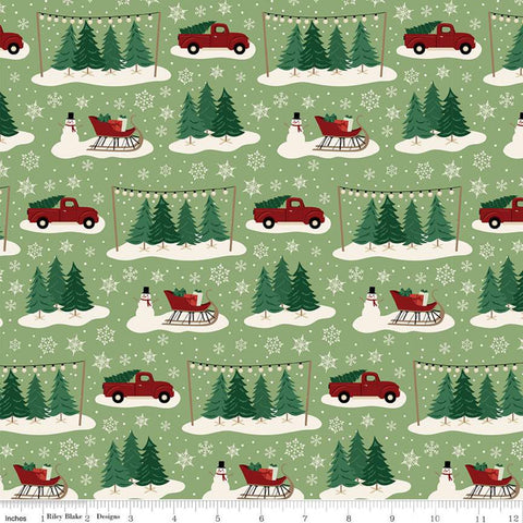 Christmas Traditions Main Green - Riley Blake Designs - Trees Sleighs Snowmen Trucks Snowflakes  - Quilting Cotton Fabric