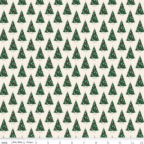 Christmas Traditions Trees Cream - Riley Blake Designs - Decorated Christmas Trees  - Quilting Cotton Fabric