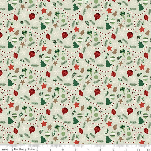 Christmas Traditions Ornaments Mint - Riley Blake Designs - Decorations Garlands Snowflakes Sprigs  - Quilting Cotton Fabric