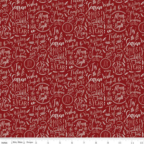 SALE Christmas Traditions Words Red - Riley Blake Designs - Cream Christmas Sayings Phrases Sprigs Text on Red  - Quilting Cotton Fabric