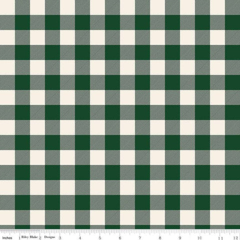 SALE Christmas Traditions Plaid Dark Green - Riley Blake Designs - Green Cream Plaid  - Quilting Cotton Fabric