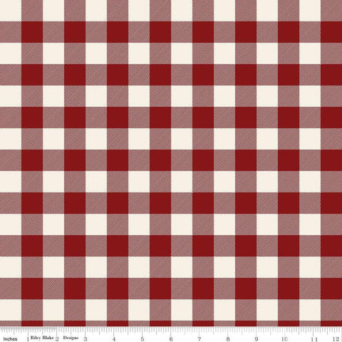 Christmas Traditions Plaid Red - Riley Blake Designs - Red Cream Plaid  - Quilting Cotton Fabric