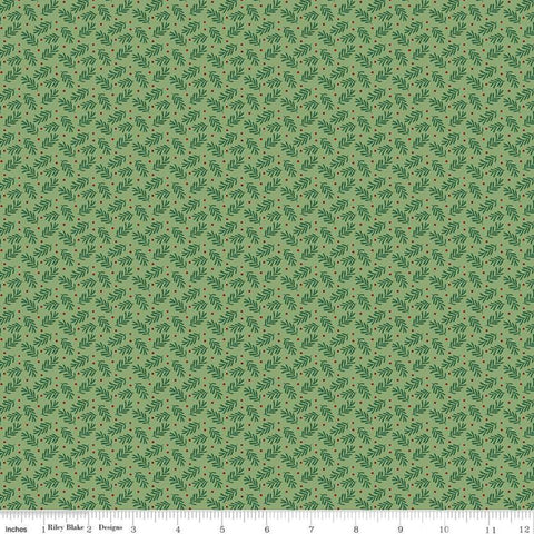 SALE Christmas Traditions Sprigs Green - Riley Blake Designs - Leaves Berries  - Quilting Cotton Fabric