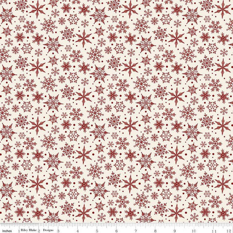 Christmas Traditions Snowflakes Cream - Riley Blake Designs - Red Snowflakes on Cream  - Quilting Cotton Fabric