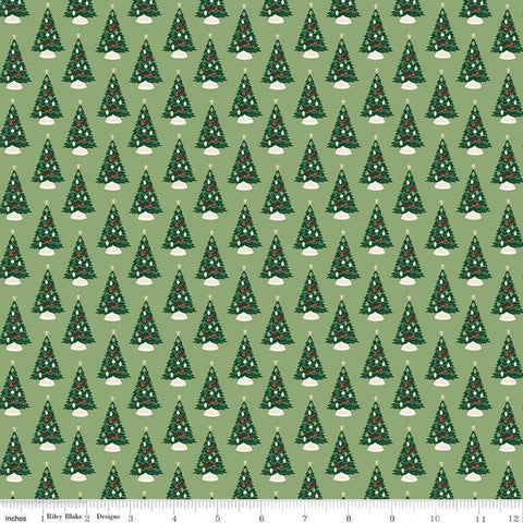 Christmas Traditions Trees Green - Riley Blake Designs - Decorated Christmas Trees  - Quilting Cotton Fabric