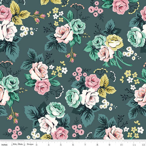 Splendor Main Teal - Riley Blake Designs - Floral Flowers Blue Green -  Quilting Cotton Fabric