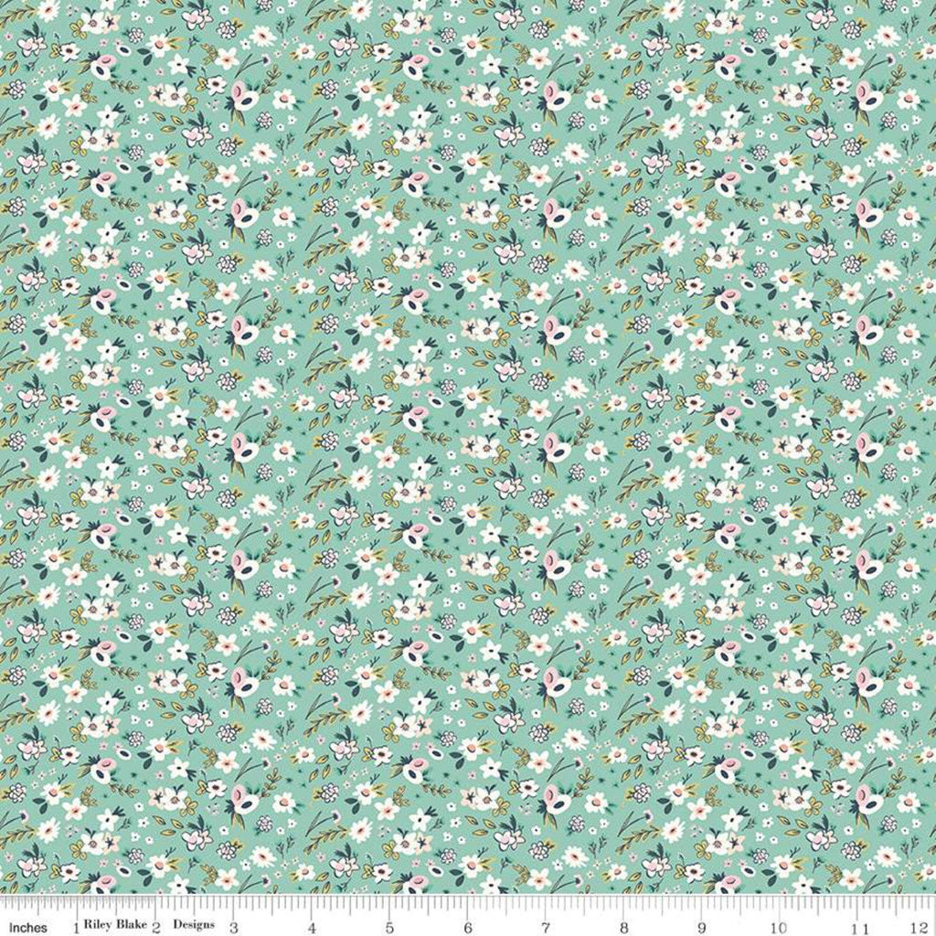 Splendor Ditsy Mint - Riley Blake Designs - Floral Flowers Green Cream -  Quilting Cotton Fabric