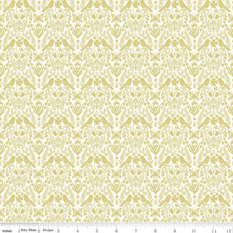 Splendor Folkart Sage - Riley Blake Designs - Floral Flowers Birds Leaves Butterflies Green Cream -  Quilting Cotton Fabric