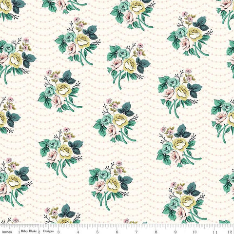 SALE Splendor Bouquet Cream - Riley Blake Designs - Floral Flowers Dots Polka Dots -  Quilting Cotton Fabric