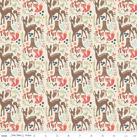 Woodland Spring Main Cream - Riley Blake Designs - Outdoors Wildlife Deer Foxes Owls Birds  -  Quilting Cotton Fabric