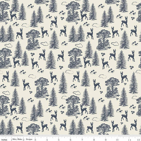 Woodland Spring My Deer Cream - Riley Blake Designs - Outdoors Forest Trees Navy Blue on Cream -  Quilting Cotton Fabric