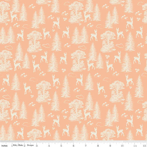 Woodland Spring My Deer Peach - Riley Blake Designs - Orange Cream Outdoors Forest Trees  -  Quilting Cotton Fabric
