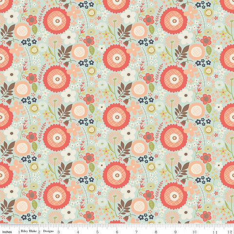 Woodland Spring Floral Aqua - Riley Blake Designs - Flowers Leaves Blue  -  Quilting Cotton Fabric
