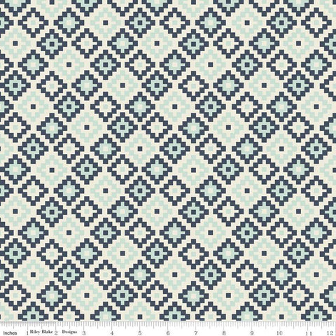 Woodland Spring God's Eye Navy - Riley Blake Designs - Blue Geometric -  Quilting Cotton Fabric