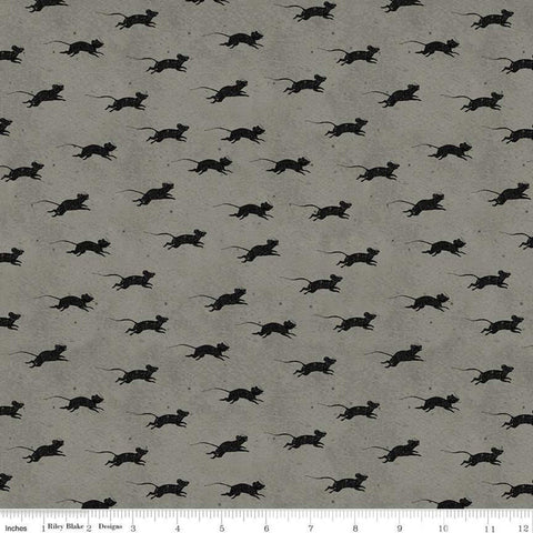 Goose Tales Blind Mice Gray - Riley Blake Designs - Halloween -  Quilting Cotton Fabric