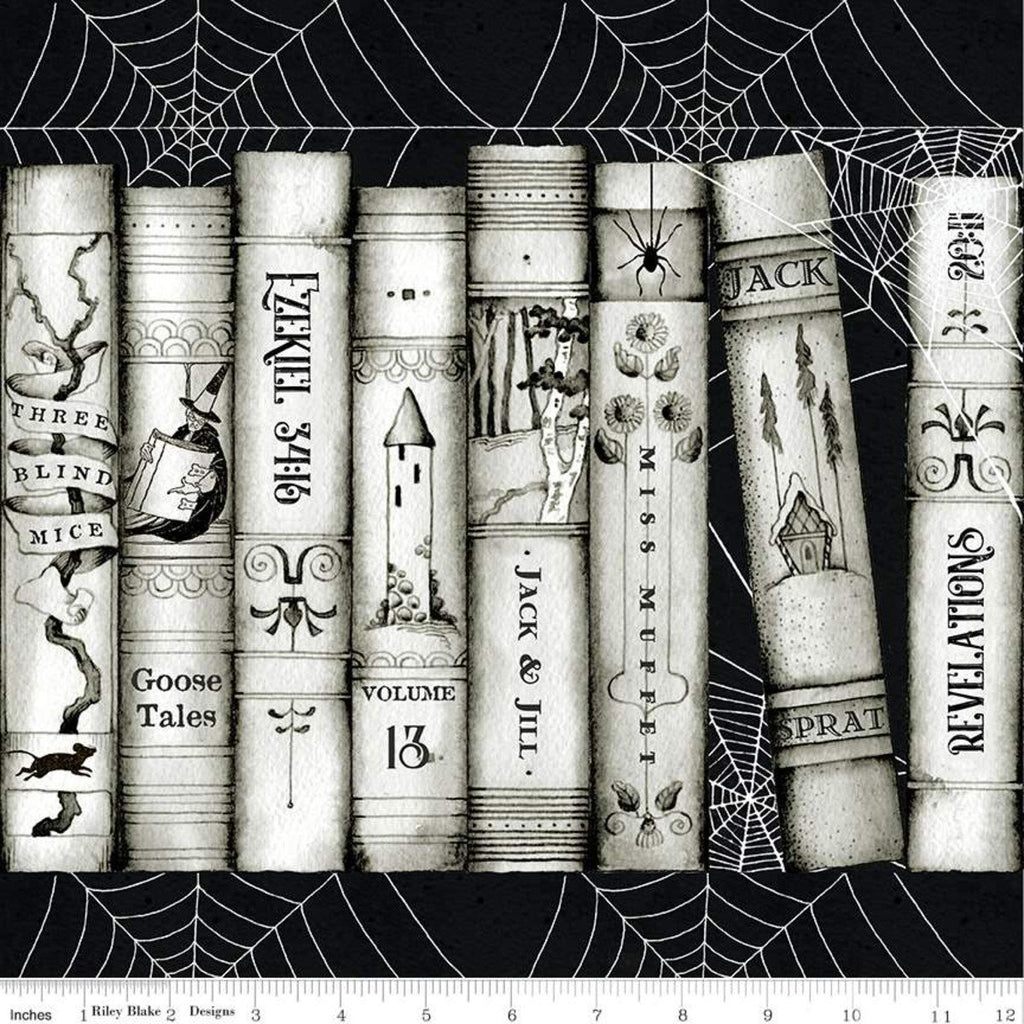 Goose Tales Book Spines Border Stripe - Riley Blake Designs - Halloween Books Spider Webs -  Quilting Cotton Fabric